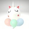 Unicornio con 3 globos macarron